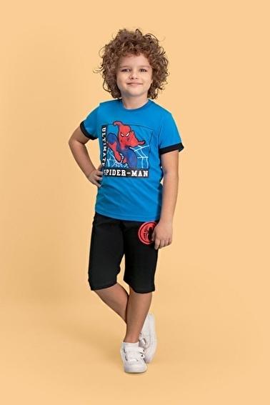 Spider-Man Spider Man Lisanslı Siyah Erkek Çocuk Kapri Takım Mavi